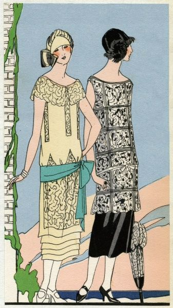 Two fashionable young ladies in autumn outfits by Bernard. On the left, an afternoon dress in crepe and lace, with a low-slung green sash tied at the hip. On the right, an outfit in white lace over black satin, with a matching parasol