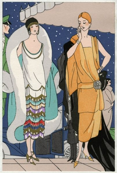 Two young ladies in fashionable autumn outfits. On the left, an evening dress in white satin crepe with bands in various colours on the skirt, by Doeuillet. On the right, an outfit in gold-coloured satin crepe, with a large diamante clasp on the belt