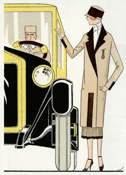 A fashionable young lady standing next to a chauffeur-driven car wearing a beige and brown autumn outfit by Premet
