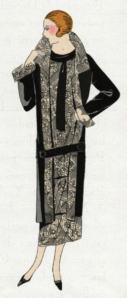 Young lady wearing a 3/4 length black coat and tunic dress with beige pattern, by Molyneux