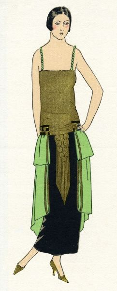 Young lady wearing dinner dress with narrow beaded straps, trimmed in gold metal and black crepe satin green, by Paul Poiret