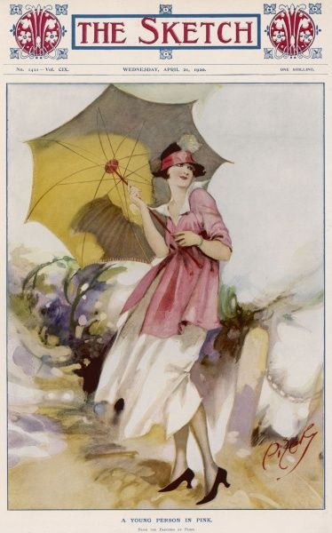 A young woman dressed in a pink and white dress poses with a large umbrella