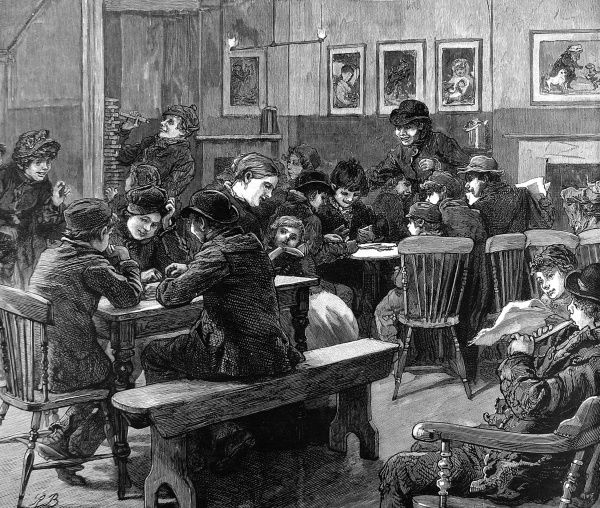 Engraving showing poor children playing in the 'general room' of what was a forerunner of a 'youth club', Islington, London, 1887