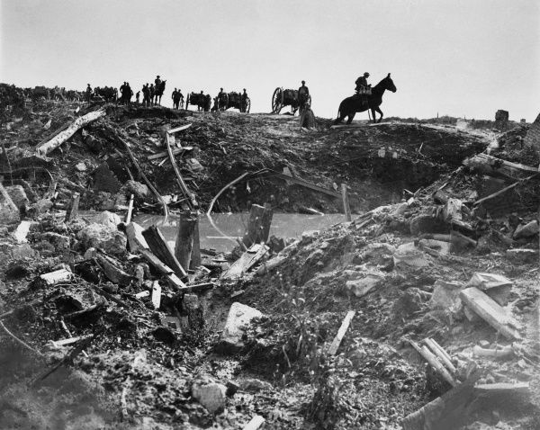 Soldiers on the battlefield at Ypres on the Western Front in Belgium during World War I on 29th September 1918 Date: 29th September 1918