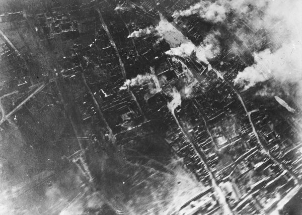 Aerial view of Ypres in flames during World War I in Belgium