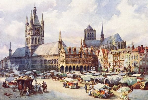 Ypres: the market place Date: circa 1914