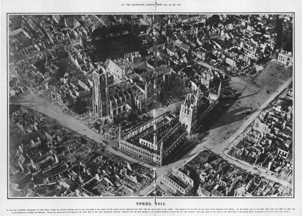 An aerial view of Ypres in August 1915. In the centre is all that remains of the Cloth Hall. Beyond are the ruins of the Cathedral of St. Martin. At the further end of the Cloth Hall stood the Hotel de Ville and an old Renaissance building, the Nieuwerk