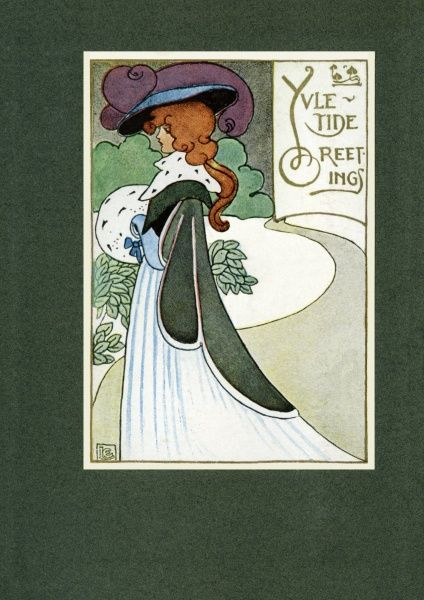 Yuletide Greetings -- an elegant lady in a large hat, keeping her hands warm in a fur muff