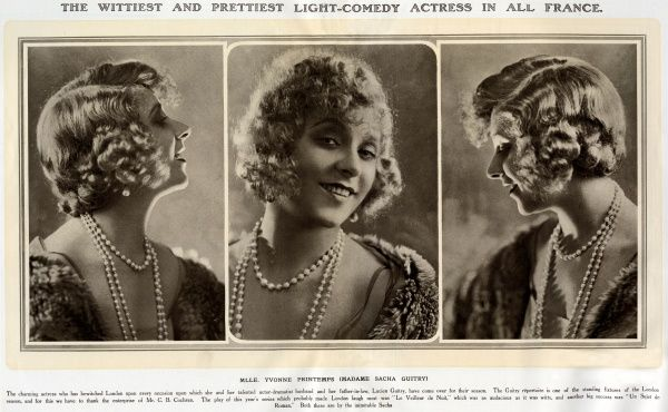 'The Wittiest and Prettiest Light-Comedy Actress in all of France ' The actress Yvonne Printemps (1894-1977) photographed from the front and in profile, following her starring role in the play 'Le Veilleur de Nuit&#39