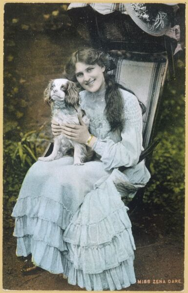 The popular actress Zena Dare with her spaniel