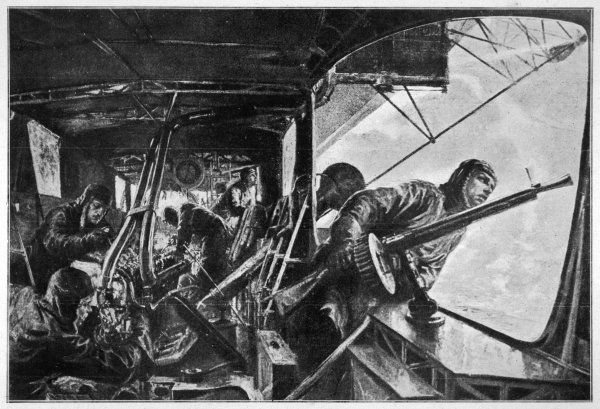 The interior of a Zeppelin in the course of a bombing raid on England : the rear nacelle during an attack by British fighter planes