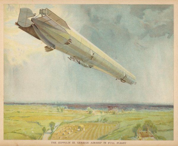 ZEPPELIN LZ-3 flying over the fields of Germany