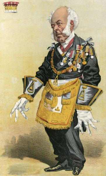 The Earl of Zetland, the Most Worshipful Grand Master of the United Lodge of England, in his ceremonial garb and bedecked with medals Date: 1869