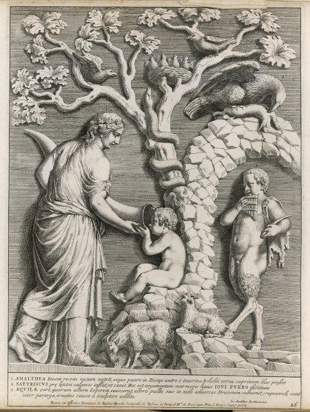 Zeus/Jupiter as a boy, being fed from a cornucopia by his foster mother Amalthea underneath a tree, while Pan (right) plays his pipes