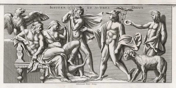 Zeus (Jupiter) and Hera (Juno) sit with his eagle, visited by Poseidon (Neptune) Hermes (Mercury) and his son (by Alkmene, not Hera, hence her gesture) Herakles