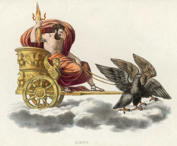 Zeus, carrying a handful of thunderbolts, in his golden chariot drawn by eagles