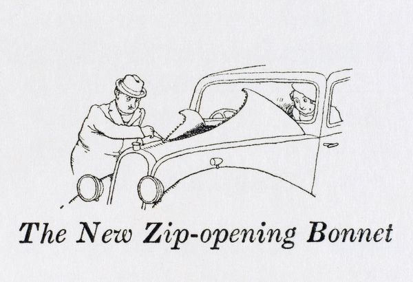 The new zip opening bonnet for fast and easy access to the engine. Please note: Credit must appear as (c) Courtesy of the estate of Mrs J.C.Robinson/Pollinger Ltd/Mary Evans Picture Library