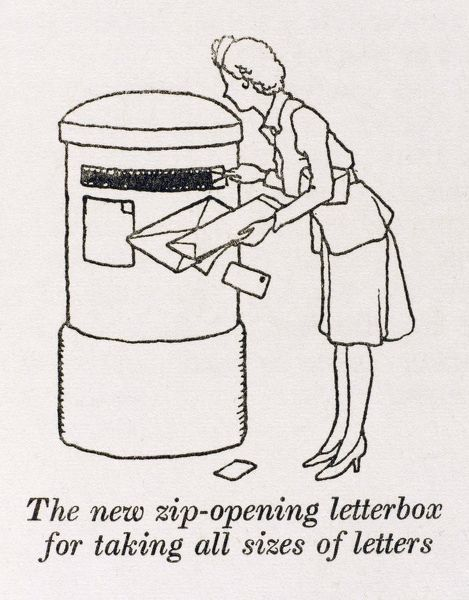 Post War Town planning. The new Zip opening letterbox for taking all sizes of letters. Please note: Credit must appear as (c) Courtesy of the estate of Mrs J.C.Robinson/Pollinger Ltd/Mary Evans Picture Library