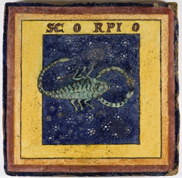 Hand painted Illustration on an original glazed clay tile, possibly used as a floor tile, approx 25cm x 25cm