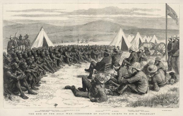 The end of the Zulu War - the surrender of native chiefs to Sir G. Wolseley. They sit together on the plains and hold a peace conference