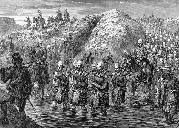 Scottish bagpipers in kilts and playing the pipes, lead the troops over a river as they leave Zululand. Date: 1879