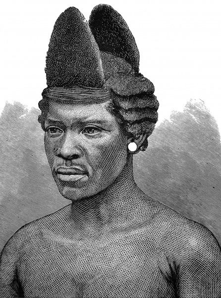 Zulu warrior with double horn-shaped hair style, with stepped sides