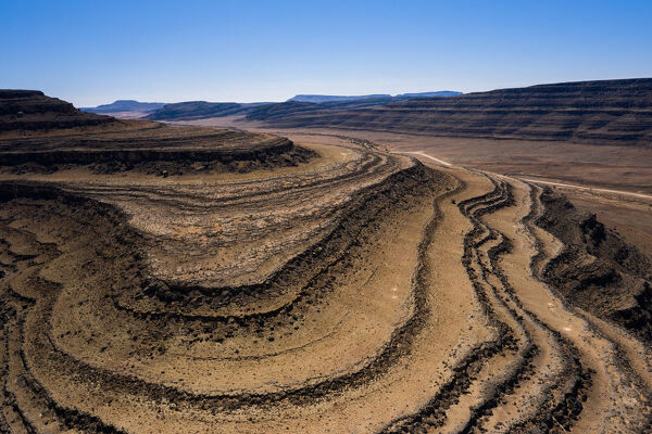 A drone shot of the Fish River Canyon, the second largest canyon in the world, Namibia, Africa