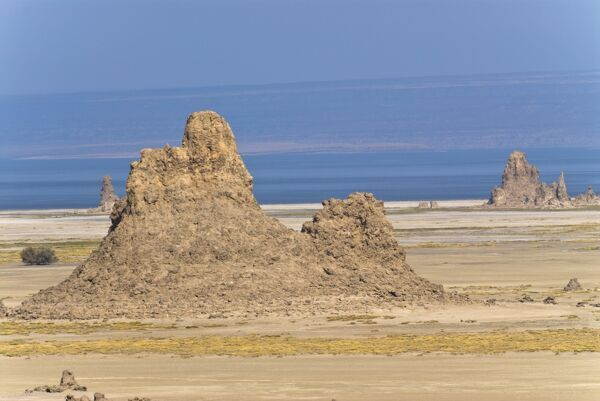 Lac Abbe (Lake Abhe Bad) with its chimneys, Republic of Djibouti ...