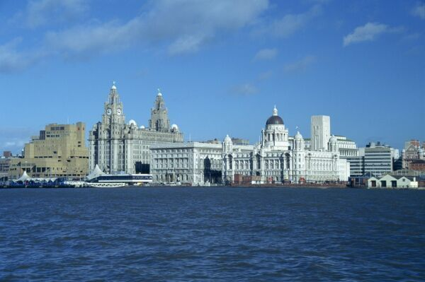 Liverpool skyline across the Mersey River, England, United Kingdom, Europe