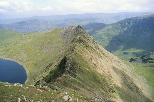 Striding Edge, Helvellyn, Lake District National Park, Cumbria, England, United Kingdom, Europe