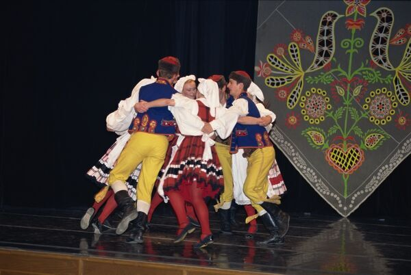 traditional folk dancing in prague czech republic europe