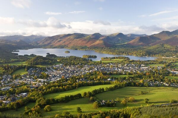 View over Keswick and Derwent Water from the Skiddaw Range, Lake District National Park, Cumbria, England, United Kingdom, Europe