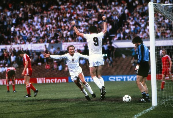 aston villas peter withe celebrates scoring the only