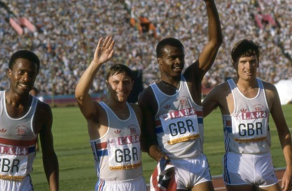 great britains silver medal winning mens 4x400m relay team at the 1984