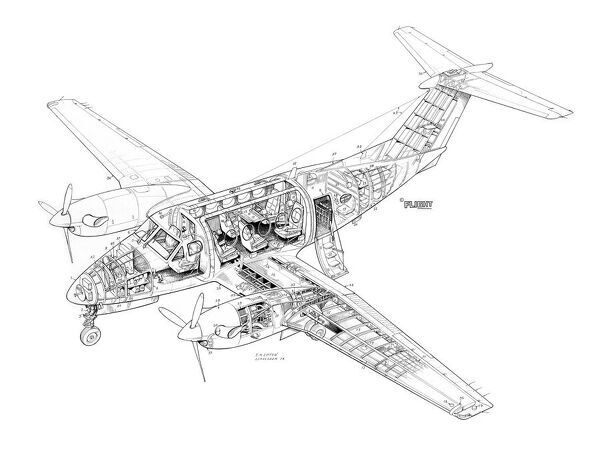 beech king air 200 cutaway drawing