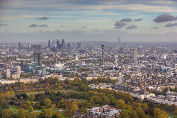 Aerial view from helicopter, Regents Park, BT Tower, The Shard & City of London, London, England