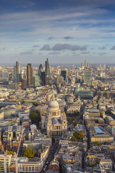 Aerial view from helicopter, St. Paul's and City of London, London, England