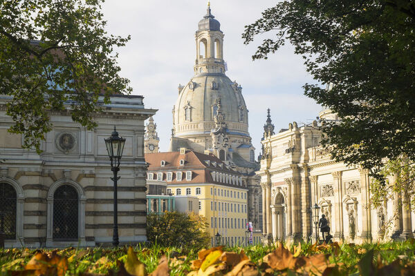 College of Fine Arts and Frauenkirche, autumn, Dresden, Germany