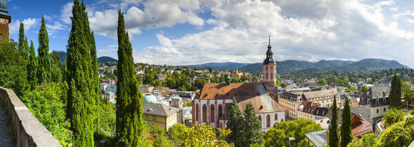 Elevated view over Stiftskirche & surrounding township, Baden-Baden, Black Forest, Baden Wurttemberg, Germany, Europe