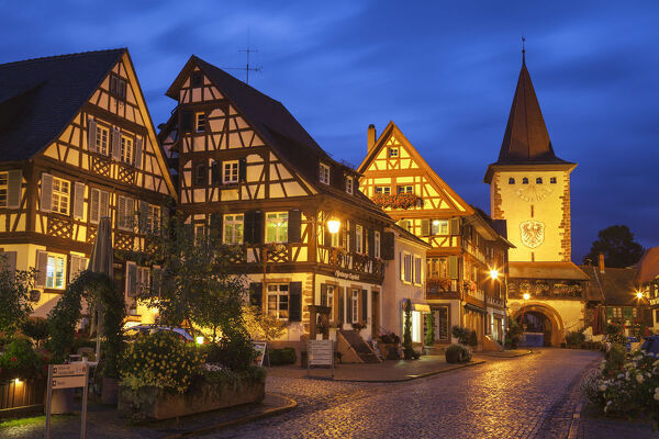 Oberturm Tower in Gengenbach's picturesque Altstad (Old Town) illuminated at dusk, Gengenbach, Kinzigtal Valley, Black Forest, Baden Wurttemberg, Germany, Europe