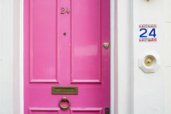 Pink door, Notting Hill, London, England