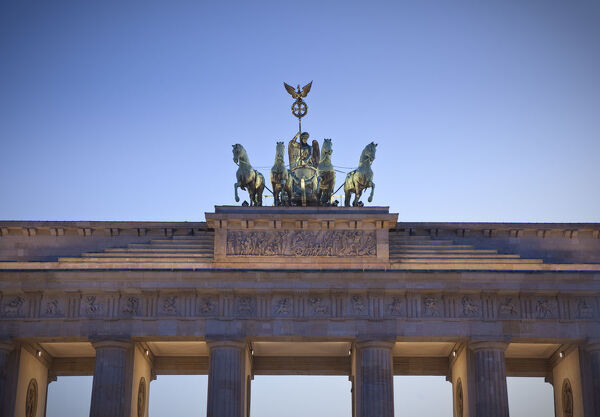 Quadriga statue on top of the Brandenburg Gate, Berlin, Germany