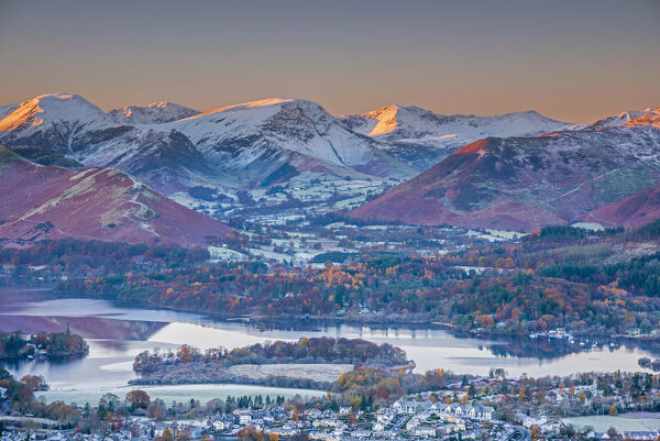 UK, England, Cumbria, Lake District, overlooking Keswick, Derwentwater and Newlands Valley