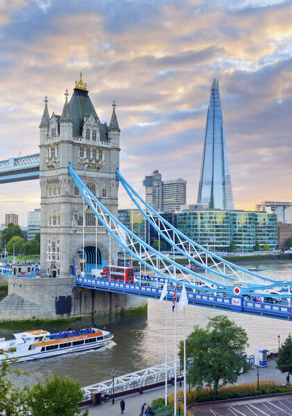 UK, England, London, River Thames, Tower Bridge and The Shard, by architect Renzo Piano