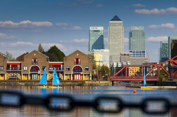 UK, England, London, Shadwell Basin and Canary Wharf beyond