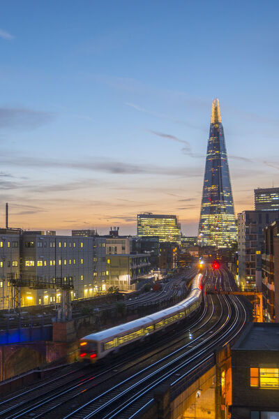 UK, England, London, Southwark, The London Shard and railway lines into London Bridge Station