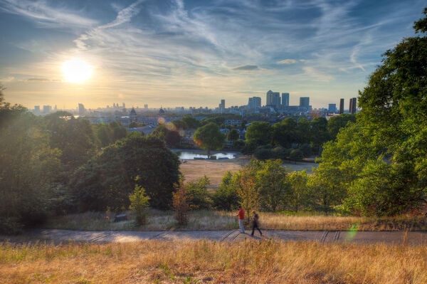 UK, London, Greenwich, Greenwich Park and Canary Wharf