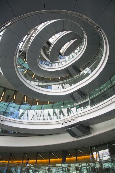United Kingdom, England, London, Siral Staircase at City Hall, designed by Sir Norman Foster