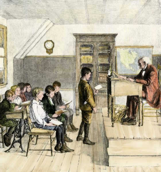 reading lesson in a 19th century classroom