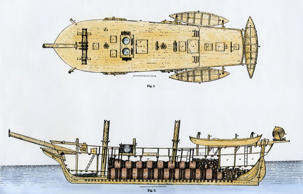 "Deck plan and cutaway view of whaling schooner ""Amelia"" of New Bedford, Massachusetts, 1800s"